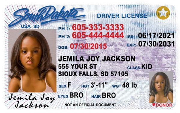 South Dakota Kid Driver License