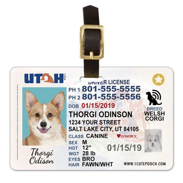 Utah Pet Driver License Luggage Tag