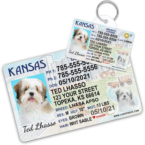 Kansas Pet Driver License Wallet Card and ID Tag