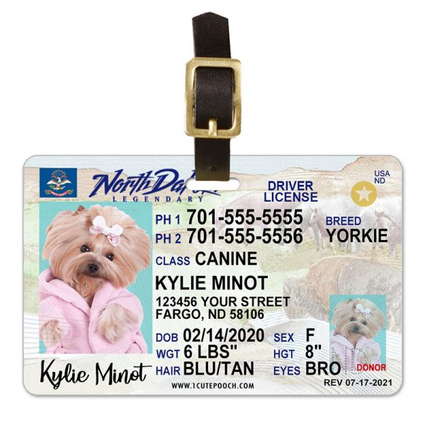 north dakota pet driver license luggage tag 800