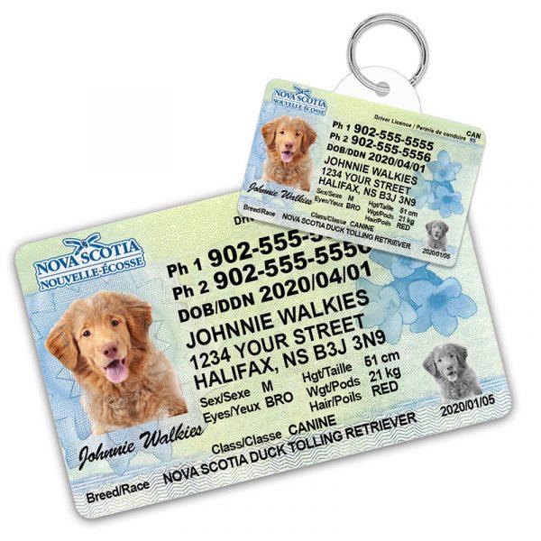 Nova Scotia Pet Driver License Wallet Card and ID Tag