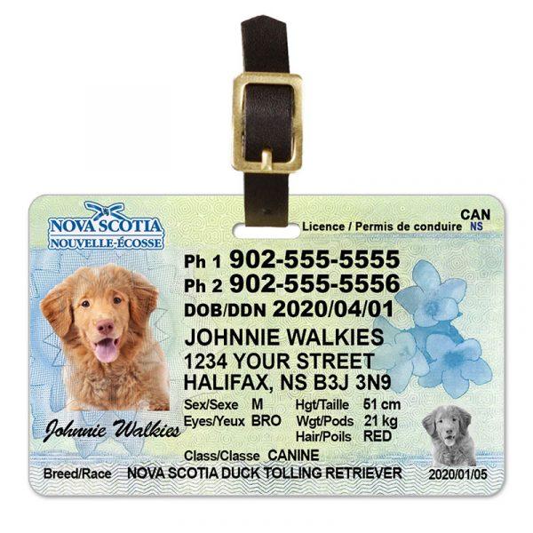 Nova Scotia Pet Driver License Luggage Tag