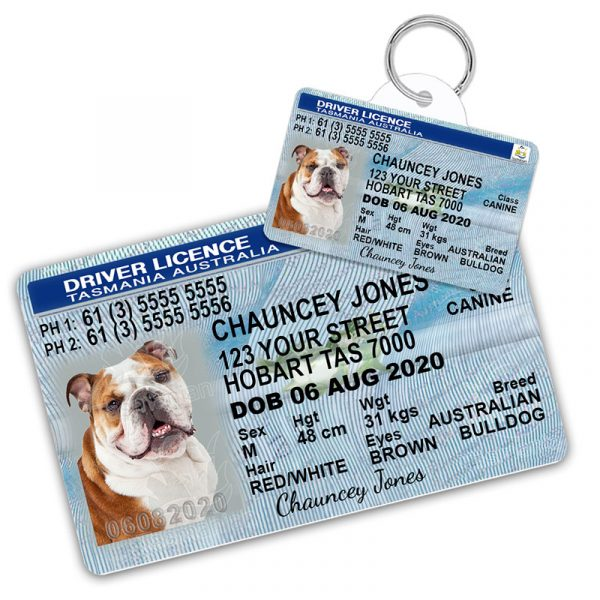 Tasmania Pet Driver License Wallet Card and ID Tag